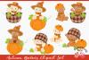 Autumn Babies Clipart Set example image 1