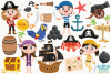 Pirate Girls 1 Clipart, Instant Download Vector Art example image 2