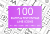 100 Photo & Text Editing Line Icons example image 1