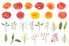 Watercolor Flowers Clipart Bundle Orange Red Yellow Florals example image 3