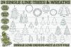29 Foil Quill Christmas Trees & Wreaths Set / Single Line example image 2