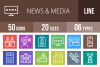 50 News & Media Line Multicolor B/G Icons example image 1