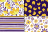 Purple and yellow floral seamless digital paper, patterns example image 3