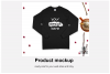Christmas Long Sleeve Tee Mockup / Gildan 2400 / Black example image 4