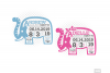 Elephant Birth Announcement SVG Ear Birth Stats Template example image 7
