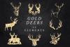 Deer Clipart, Antler Clip Art, Gold Glitter Digital Deers example image 1