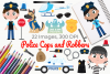 Police Cops and Robbers Clipart, Instant Download Vector Art example image 1