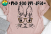 Bunny With Glasses Leopard - Easter - PNG for Sublimation example image 1