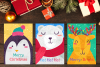 Christmas Greeting Cards With Animals Set example image 1