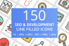 150 SEO & Development Filled Line Icons example image 1