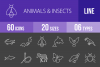 60 Animals & Insects Line Inverted Icons example image 1