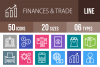 50 Finances & Trade Line Multicolor B/G Icons example image 1