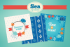 Sea Greeting Cards and Seamless Patterns example image 1