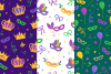12 Mardi Gras Seamless Patterns example image 3
