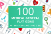 100 Medical General Flat Icons example image 1