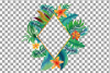 Watercolor tropical navy blue and green exotic floral frames example image 17