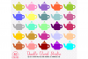 40 Colorful Teapot Clipart Rainbow Tea set clip art Illustration Stickers PNG with Transparent Background for Personal & Commercial Use example image 2