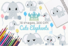 Cute Elephants Clipart, Instant Download Vector Art example image 1