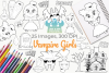 Vampire Girls Digital Stamps example image 1