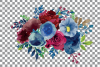 Colorful navy and burgundy floral watercolor wedding bouquet example image 10
