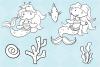 Cute Mermaids Digital Stamps example image 4