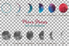 Watercolor space blue and grey Moon Phases clip art pack example image 16