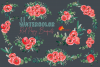 Red poppies floral watercolor wedding bouquets, floral decor example image 12