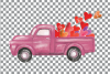 Watercolor vintage Valentine truck load with kisses XOXO png example image 6