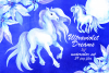 Ultraviolet dreams. Watercolor horses and flowers. example image 1