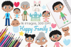 Happy Family 2 Clipart, Instant Download Vector Art example image 1