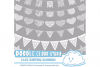 18 White Lace Burlap Bunting Banners Cliparts, multiple lace texture flags Transparent Background Instant Download Personal & Commercial Use example image 3