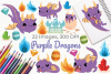 Purple Dragons Clipart, Instant Download Vector Art example image 1