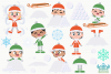 Snow Day Boys Clipart, Instant Download Vector Art example image 2
