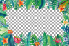 Tropical navy blue and green leaves and exotic flowers example image 2