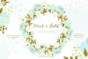 Mint and Gold. Watercolor floral clipart. example image 3