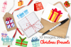 Christmas Presents Watercolor Clipart, Instant Download example image 4