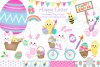 Easter bunny clipart, easter graphics & illustrations -C33 example image 1