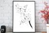 black bunch floral Doodle Art A1, SVG example image 3