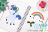 Magical Christmas Unicorns Clipart, Instant Download example image 3