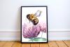 Watercolor Bumblebee & Clover Clip Art + Print example image 1