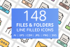 148 Files & Folders Filled Line Icons example image 1