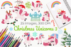 Christmas Unicorns 3 Clipart, Instant Download Vector Art example image 1