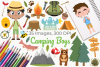 Camping Boys Clipart, Instant Download Vector Art example image 1