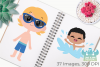 Pool Party Boys Clipart, Instant Download Vector Art example image 3