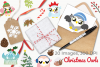 Christmas Owls Clipart, Instant Download Vector Art example image 4