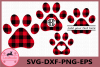 Paw Buffalo Plaid Svg, Paw Monogram svg, Animals Plaid Svg example image 1