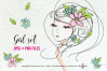 hand drawn pretty girl art set 2, girl face with flowers example image 1