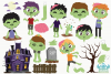 Zombie Boys Clipart, Instant Download Vector Art example image 2