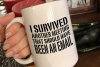 I survived a meeting, funny office, funny coffee cup svg dxf example image 3