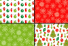 Red and Green Christmas Digital Paper Set example image 2